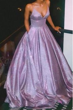cute dresses A Line Spaghetti Straps Long Prom Dress with Pockets, Glitter Lilac V Neck Formal Dresses This dress could be custom made, there are no extra cost to do custom size and color Prom Dress With Train, Prom Dresses With Pockets, Straps Prom Dresses, A Line Prom Dresses, Homecoming Dresses, Prom Dress Long, Fitted Prom Dresses, A Line Dress Formal, Prom Party Dresses