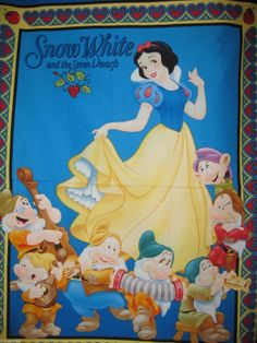 Snow White and The Sever Dwarf's Cotton Fabric Quilt Panel   eBay