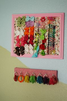 Girls Hair Accessories Organization  Love this especially the bottom hair tie holder!!!