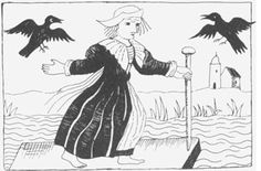 "The Witch of St. Pancras: Shown here crossing the Fleet River with Old St. Pancras Church in the background. From a printed printed by John Hammond in 1643 entitled ""A Most Certain, Strange and True Discovery of a Witch"". In 1968, the Beatles used the Church graveyard for the inside shot of their double album The Beatles: 1962-1966."