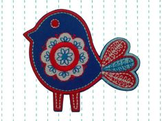 Iron on Patch Applique Scandinavian Bird by twinklespatches