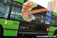 Rotulación Orange 4G. Contacta con nosotros en el 922 646 824 o vía email a mailto:comercial@... #publiservic #rotulacion #autobus Orange, Red, Tents, Advertising