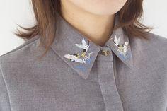 Fine Art Collection grey crane embroidery collar por PurpleFishBowl