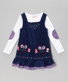 Take a look at this White Top & Blue Owl Corduroy Jumper - Toddler & Girls on zulily today!