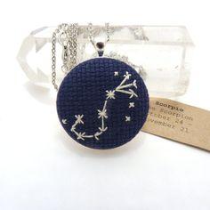Scorpio Zodiac Constellation Cross Stitch Embroidery by zelmarose, $49.00