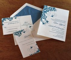 Stunning #letterpress #wedding invitation set with matching envelope liner and insert cards.
