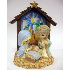 Precious Moments Baby Jesus in Manger lighted decoration.