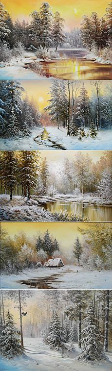Зимние пейзажи, художник Юрий Корников Winter Landscape, Landscape Art, Landscape Paintings, Winter Painting, Winter Art, Bob Ross Paintings, Seascape Paintings, Winter Scenes, Pictures To Paint