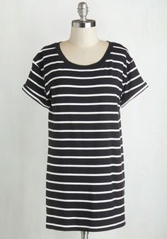 Simplicity on a Saturday Tunic in Black Stripes. Whoever said jeans and a tee couldnt look completely cute has clearly never encountered a gal wearing this striped T-shirt! #black #modcloth