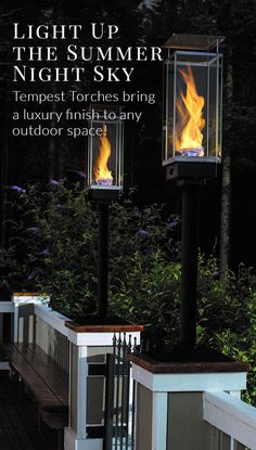 The Tempest Torch by Travis Industries creates a distinctive source of outdoor lighting for patios, decks and landscapes. The torch features tempered glass Outdoor Torches, Outdoor Fire, Outdoor Decor, Outdoor Ideas, Deck Lighting, Lighting Design, Club Lighting, Lighting Ideas, Fire Torch