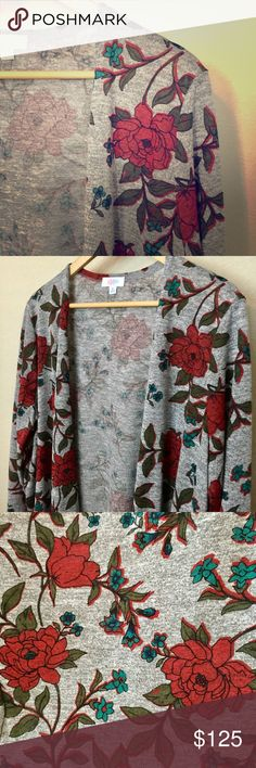 NWT LulaRoe Floral Sarah Cardigan Duster NWT LulaRoe Floral Sarah Cardigan Duster Size XL,  Floral Print on Heathered Gray!  So pretty!  PRICE FIRM, NO TRADES!  😊 LuLaRoe Sweaters Cardigans
