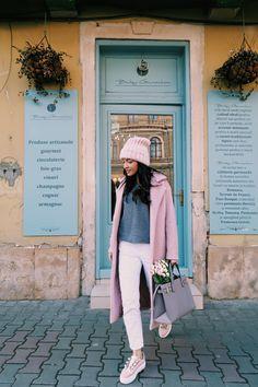 Pink coat & beanie