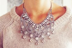 I am all for throwing on an insane statement necklace with a great cozy knit, and jeans