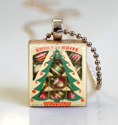 Christmas Jewelry, Shiny Brite Vintage Ornaments, Retro Christmas Scrabble Tile Pendant With Ball Chain Included (S107) via Etsy