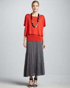 Linen Jersey Loose Tee, Organic Cotton Slim Tank & Tiered Maxi Skirt by Eileen Fisher at Neiman Marcus.