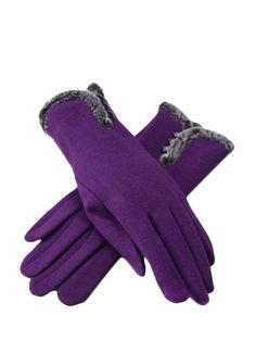 Lady Classic Solid Gloves With Button & Gloves - at Jollychic