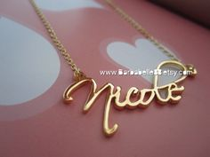 Personalized Any Name Necklace come with chain Gift box included.(Script font). $27.00, via Etsy.    She has rose gold too!!