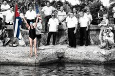 Diana Nyad at the start of her 2011 attempt to swim from Cuba to Florida  (photo: Mike Lewis, Ola Vista Photography)