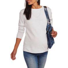 Faded Glory Maternity Long Sleeve Fleece Crew Neck Sweatshirt, Size: XL, White