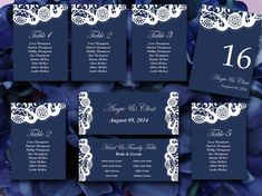 Vintage Lace Wedding Seating Chart Template | Dark Navy Blue Shabby Chic Wedding Microsoft Word Template Table Number Card Wedding Download  by PaintTheDayDesigns, $25.00
