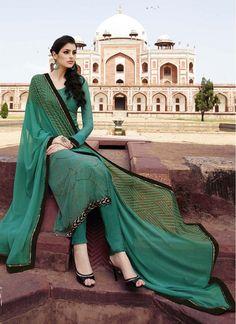 Faux Georgette Lace Sea Green Trendy Churidar Salwar Suit