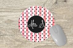 Monogram Mouse Pad  Round Striped Background, Cute Pink, Vivid Colors, Pink Flowers, Monogram, This Or That Questions, Design, Monogram Tote, Vibrant Colors