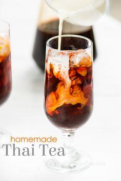 Easy thai tea recipe like restaurants. Recipe for thai iced tea. This Thai tea recipe is quick and delicious made from thai tea mix. Thai Tea Recipes, Iced Tea Recipes, Coffee Recipes, Dessert Recipes, Chinese Recipes, Breakfast Recipes, Dinner Recipes, Yummy Drinks, Healthy Drinks