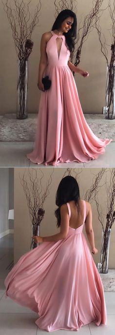 Pretty Pink Halter Chiffon Prom Long Dresses Open Back Evening Gowns For Bridal Party