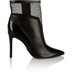 Schutz Neia leather and mesh ankle boots (1,970 MXN) ❤ liked on Polyvore featuring shoes, boots, ankle booties, black, leather boots, black leather bootie, black bootie, black leather boots and high heel booties