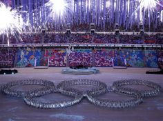 Dancers form the Olympic rings during the Closing Ceremony of the Sochi 2014 Winter Olympics at Fisht Olympic Stadium #sochi2014 #olympics #winterolympics