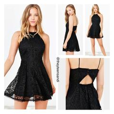 Urban Outfitters Black High-Neck Fit + Flare Dress