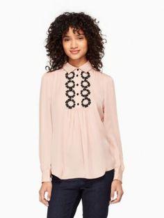 daisy lace silk shirt | Kate Spade New York