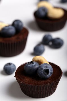 Olives for Dinner | Recipes for the Ethical Vegan: Raw Chocolate Cups with Blueberries and Cashews