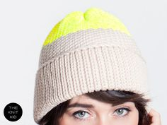 Beanie nude neon yellow merino colorblock knitted hat