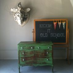 rustic green dresser is cute, but the chalkboard is FANTASTIC