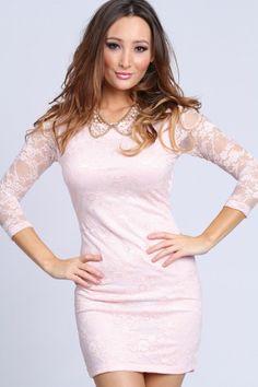 $29.99 www.thedarkqueen.storenvy.com  short bodycon pink lace dress, quarter sleeve, summer, bridesmaid, boho, beach