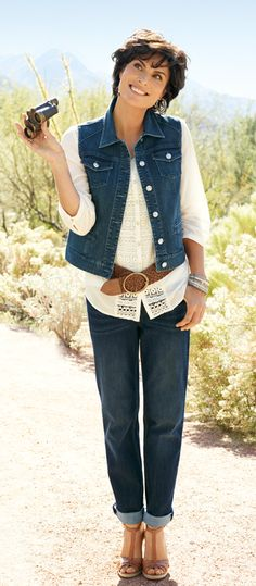 Idea. Slimming Secret: Layer a denim vest over a longer soft shirt to look taller and leaner (instantly). #chicos
