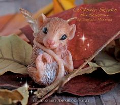 OOAK Fairy Mouse - Polymer Clay Mini Sculpture by Celidonia - Daniela Messina