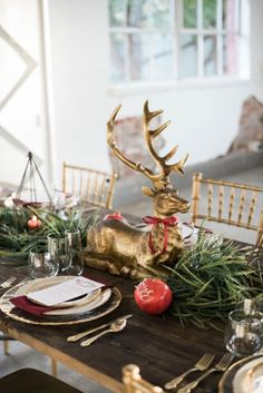 blancdenver.com #blancdenver red, yellow, rose gold and green wedding colors plus a festive holiday table and warm color tones.