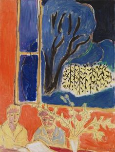 Henri Matisse - Two Young Girls in a Coral Interior, Blue Garden (Deux fillettes, fond corail, jardin bleu) 1947 Barnes Henri Matisse, Matisse Kunst, Matisse Art, Matisse Paintings, Picasso Paintings, Post Impressionism, Pablo Picasso, French Artists, Abstract Art