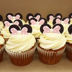 Minnie Mouse ears toppers for a cute cupcake! Mouse Ears, Minnie Mouse, Cute Cupcakes, Desserts, Fun, Deserts, Dessert, Postres, Food Deserts