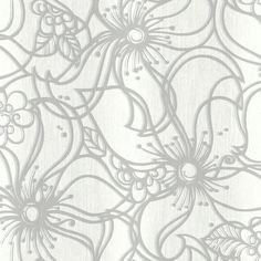 Sample Whimsical Bloom Wallpaper in Grey design by Stacy Garcia for York Wallcoverings