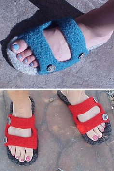 Knitting Pattern for Birkenslippers - Felted sandal slippers are a fast knit according to the designer. Women's sizes Sm Med Designed by Kris Basta who seems to allow you to sell the finished products. Felted Slippers Pattern, Crochet Slipper Pattern, Knitted Slippers, Free Knitting Patterns For Women, Knitting Tutorials, Knitting Socks, Knit Socks, Simply Knitting, Freeform Crochet