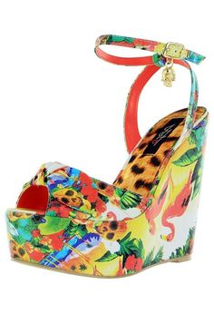 e34aa37e21f1 Iron Fist Tropical Print Platform Wedge Vegan Shoe  IronFist   PlatformsWedges Flamingos AND skulls