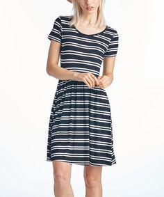 This Black Stripe Short-Sleeve Dress - Women is perfect! #zulilyfinds