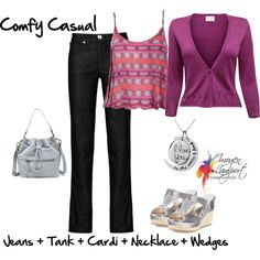 comfy casual cardi by imogenl on Polyvore featuring EAST, Ally Fashion, Armani Jeans, Jimmy Choo and FOSSIL