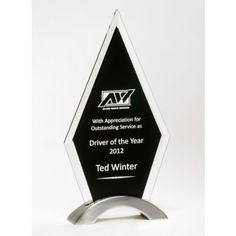 Our Beveled Black Glass Trophy features a thick glass piece with a black engraving area mounted on a silver arch. is x and includes free personalized engraving. Glass Trophies, Glass Plaques, Glass Awards, Glass Picture Frames, One And Other, Black Glass, Diamond Shapes, Laser Engraving