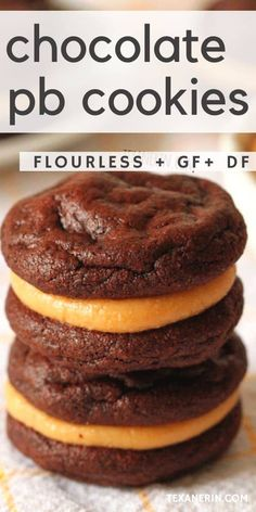 Gluten free meals 56787645293119952 - These flourless chocolate peanut butter cookie sandwiches are super fudgy and rich and happen to be grain-free, gluten-free and dairy-free! An amazing gluten-free cookie recipe. Source by texanerinbaking Biscuits Sans Lactose, Biscuit Sans Gluten, Cookies Sans Gluten, Dessert Sans Gluten, Dairy Free Cookies, Dairy Free Snacks, Gluten Free Cookie Recipes, Gluten Free Peanut Butter, Chocolate Peanut Butter Cookies