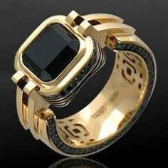 Men's Jewelry Rings, Jewelry Gifts, Silver Jewelry, Jewelry Accessories, Mens Gold Rings, Gold And Silver Rings, Rings For Men, Gents Ring, Onyx Ring