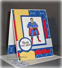 Super Hero -- Birthday -- Handmade Super Hero Birthday Card. via Etsy.
